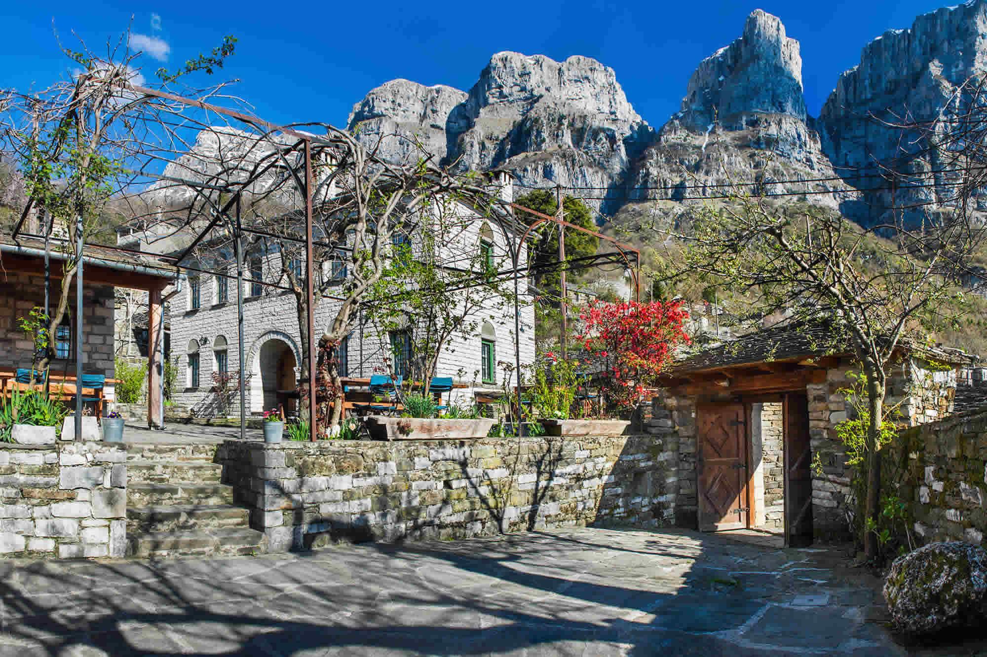 Guesthouse DIAS in Papigo sits under the imposing peaks Gamila & Astraka of Tymfi Mountain range in Epirus, Greece